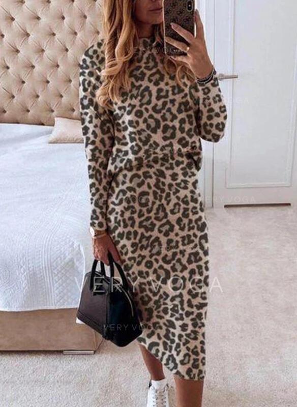 luipaard Lange Mouwen Bodycon Potlood Elegant Medium Jurken