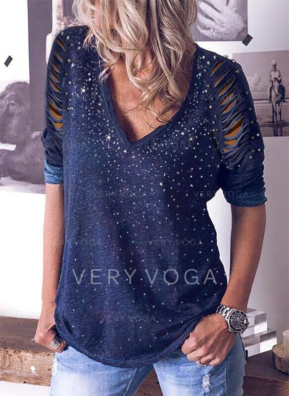 Sequins Beaded V-Neck Long Sleeves Casual Blouses