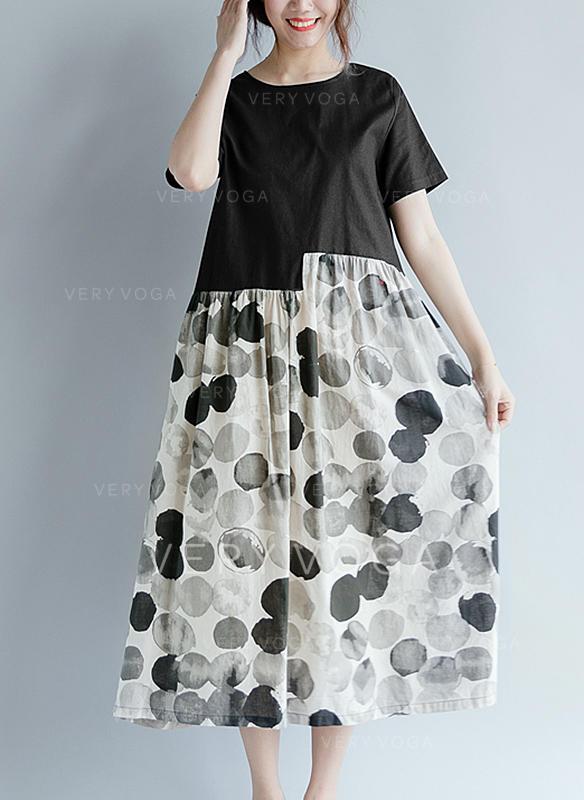 83631d9a28 Groszki Krótkie rękawy Koktajlowa Midi Casual Sukienki (199257958 ...