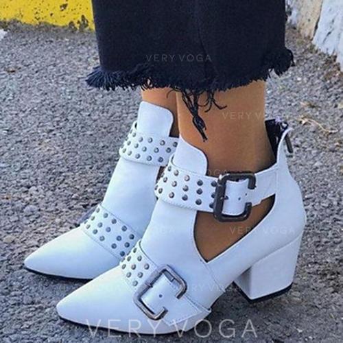 Kvinner PU Stor Hæl Støvler med Rivet Spenne sko