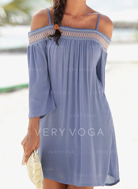 Print 3/4 Sleeves Shift Above Knee Vacation Tunic Dresses