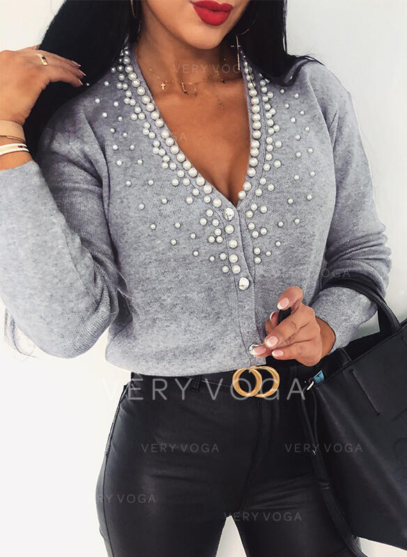 Solid Beaded V-Neck Casual Cardigan