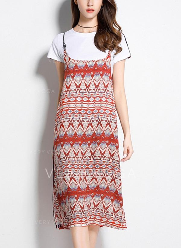 fa900c9256 Nadrukowana Krótkie rękawy Koktajlowa Midi Sukienki (199131283 ...