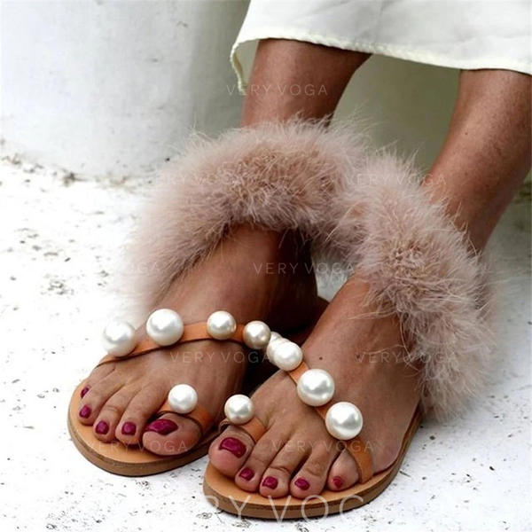 Women's PU Flat Heel Sandals Peep Toe Slippers With Imitation Pearl shoes