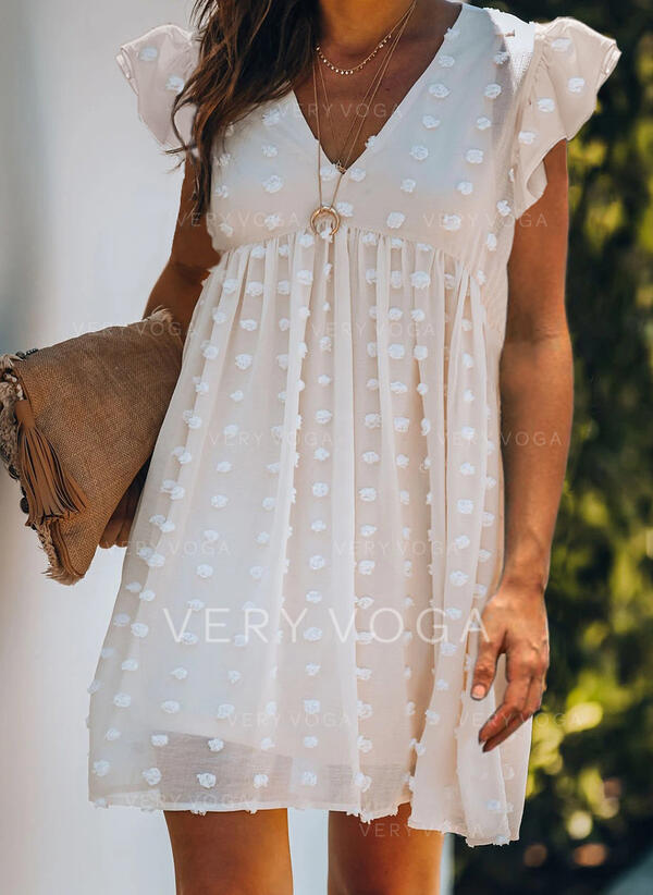 Solid Cap Sleeve Shift Above Knee Casual/Vacation Tunic Dresses