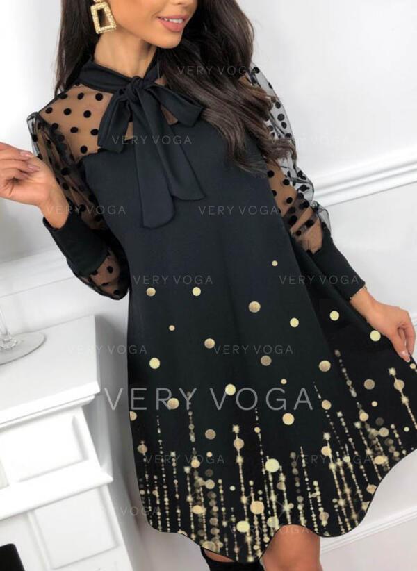 Sequins/PolkaDot Long Sleeves Shift Above Knee Elegant Dresses