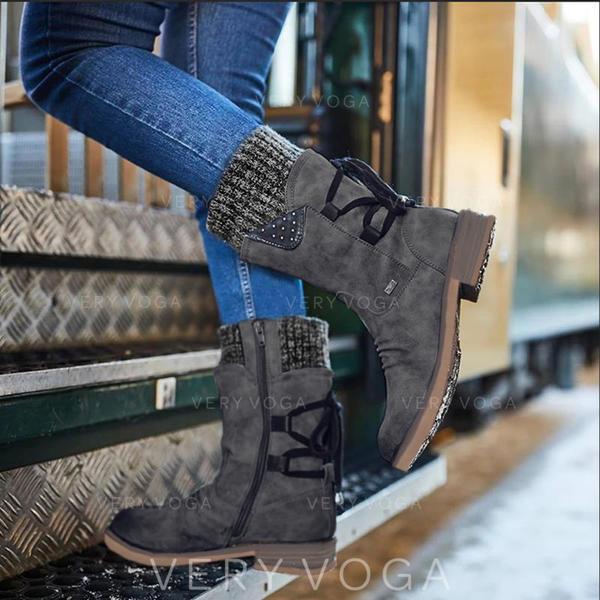 Women's PU Low Heel Boots With Zipper shoes
