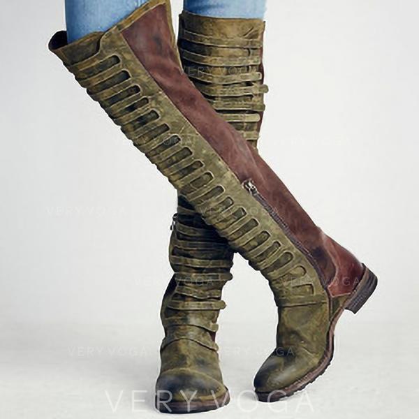 Kvinnor Konstläder Låg Klack Stövlar med Zipper Ihåliga ut skor