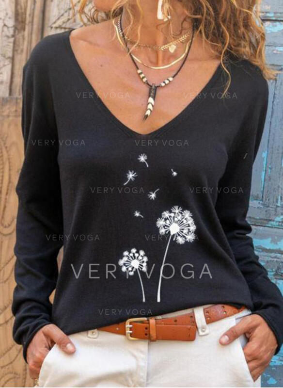 Dandelion Print V-Neck Long Sleeves T-shirts