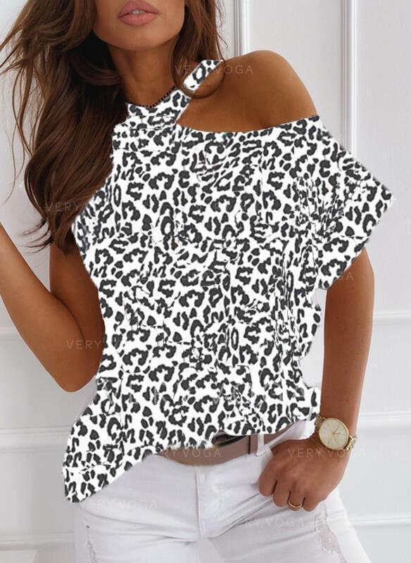 Leopardo Un Hombro Manga corta Casual Blusas