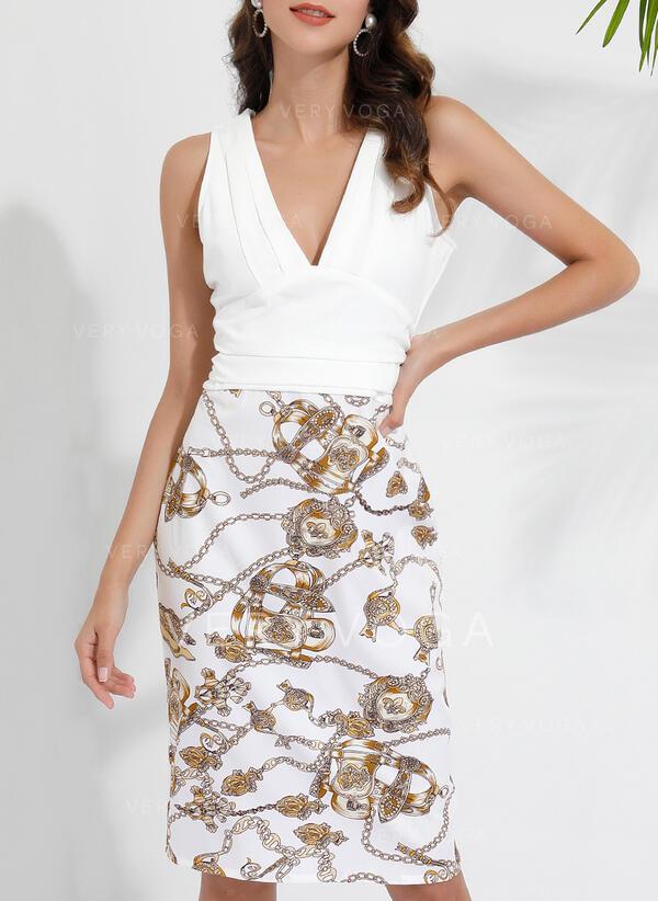 Εκτύπωση/Φλοράλ Αμάνικο Κολλητό Μήκος Γόνατος Πάρτι Сукні