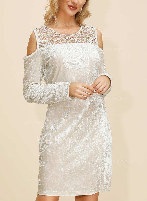 Lace/Solid Long Sleeves/Cold Shoulder Sleeve Shift Above Knee Casual/Elegant Dresses