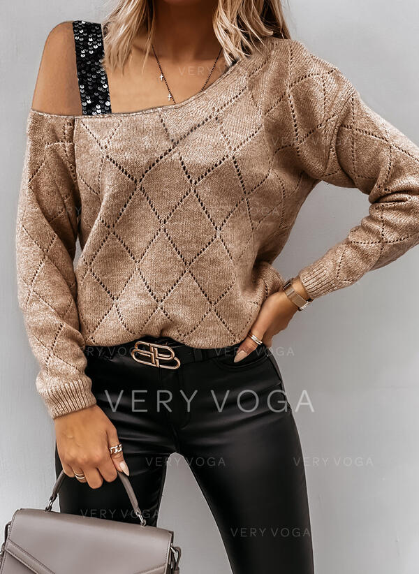 Solid Sequins One Shoulder Casual Sweaters