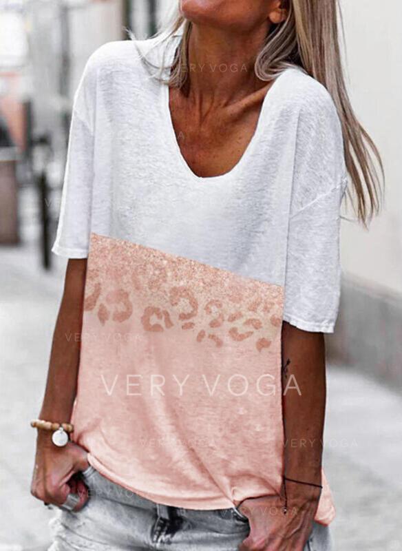 Color Block Leopard V-Neck 1/2 Sleeves T-shirts