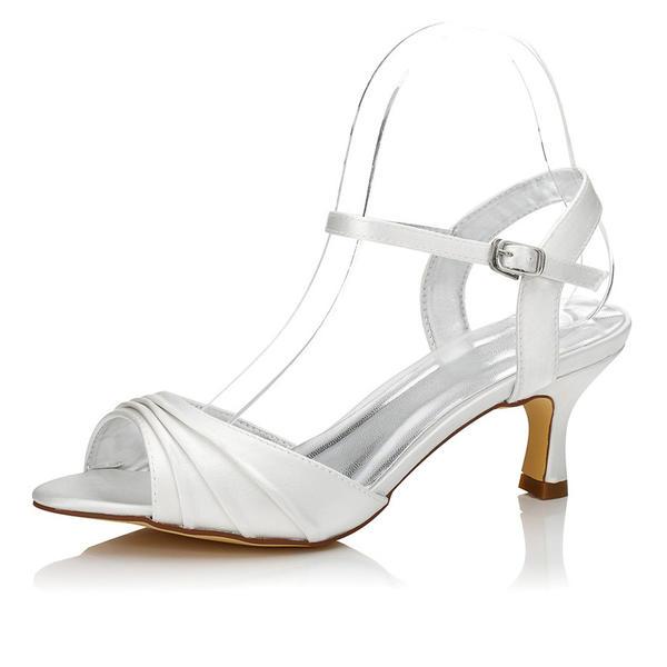 Frauen Satin Niederiger Absatz Sandalen Slingpumps Färbbare Schuhe