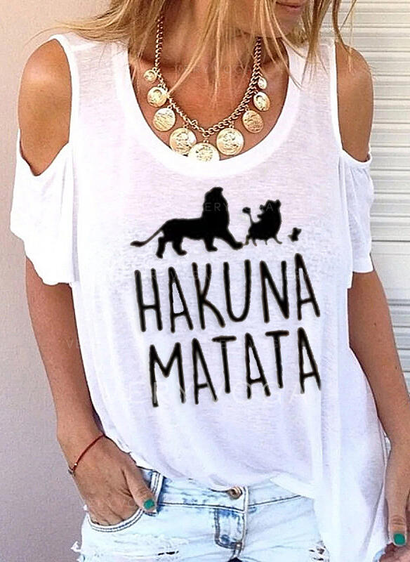 Animal Print Cold Shoulder Short Sleeves Casual Blouses