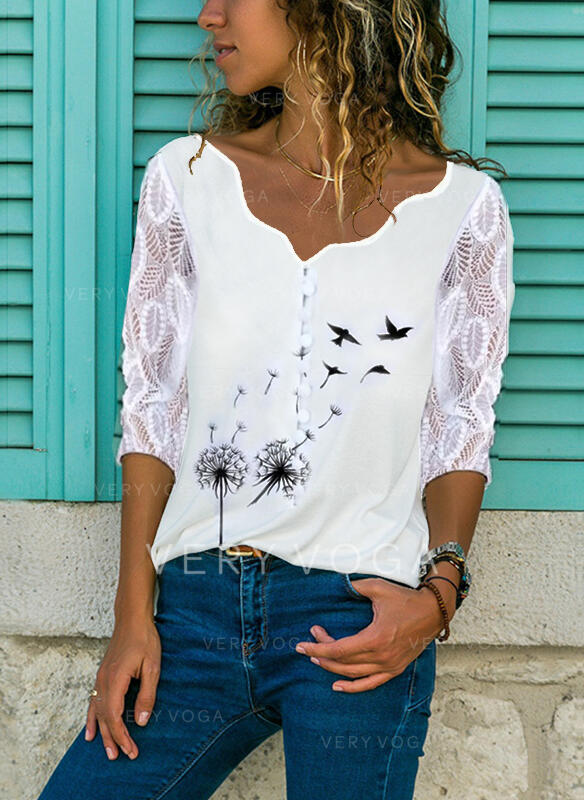Animal Print Lace V-Neck 3/4 Sleeves Button Up Blouses