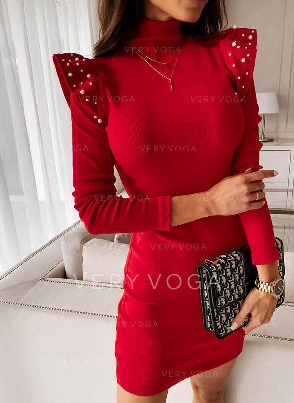 Solid/Beaded Long Sleeves Bodycon Above Knee Little Black/Party/Elegant Dresses