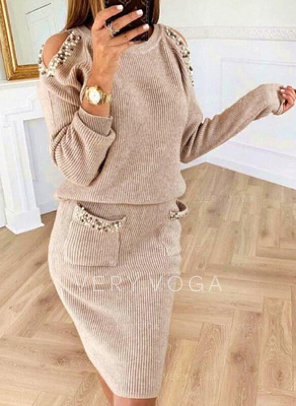 Solid/Beaded Long Sleeves Bodycon Knee Length Casual Sweater Dresses
