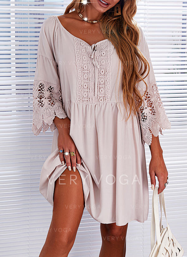 Solid Lace 3/4 Sleeves Shift Above Knee Casual Tunic Dresses