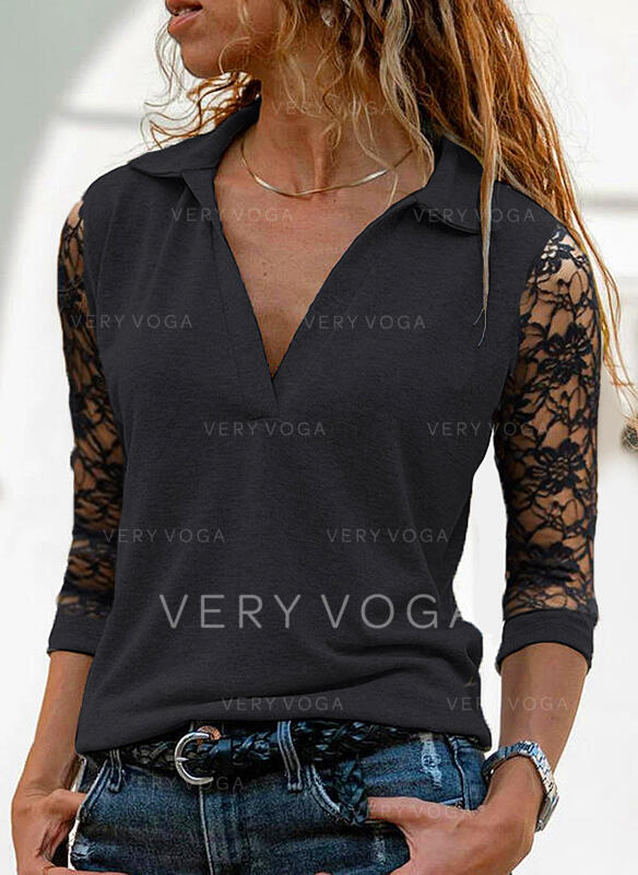 Solid Lace Lapel 3/4 Sleeves Casual Blouses