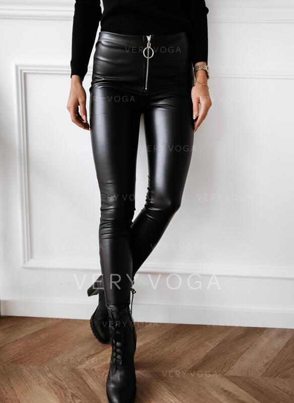Solid Shirred Long Sexy Leather Leggings