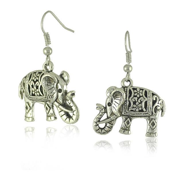 Saint éléphant Argent tibétain Dames Boucles d'oreille de mode