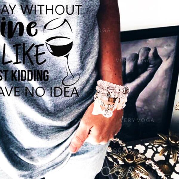 Einzigartig Legierung Versilbert Acryl Holzperlen Damen Mode Armbänder