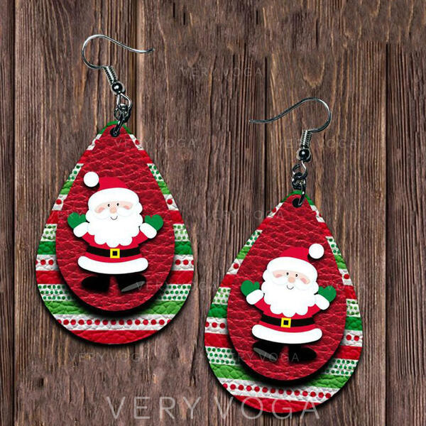 Layered Drop Shape Christmas Christmas Santa PU Women's Earrings 2 PCS