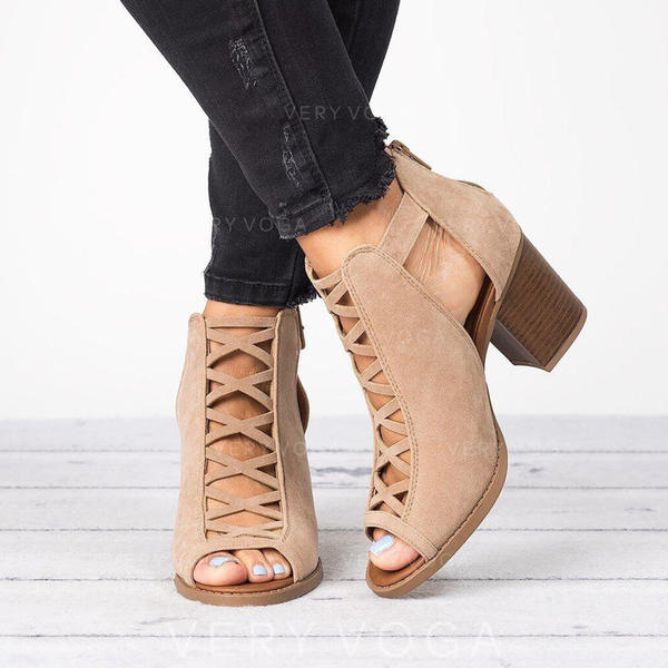 De mujer Tela Tacón ancho Botas al tobillo con Hebilla zapatos