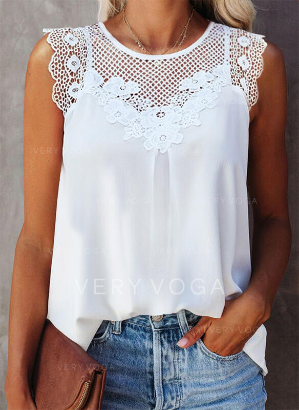 Hollow-out Lace Solid Round Neck Sleeveless Tank Tops