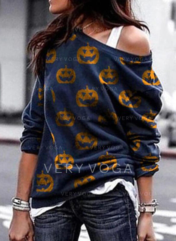 Print Halloween One Shoulder Lange ærmer Sweatshirts