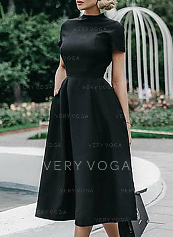 С коротким рукавом A-линии Маленький черный/Повседневная/элегантный миди Платья