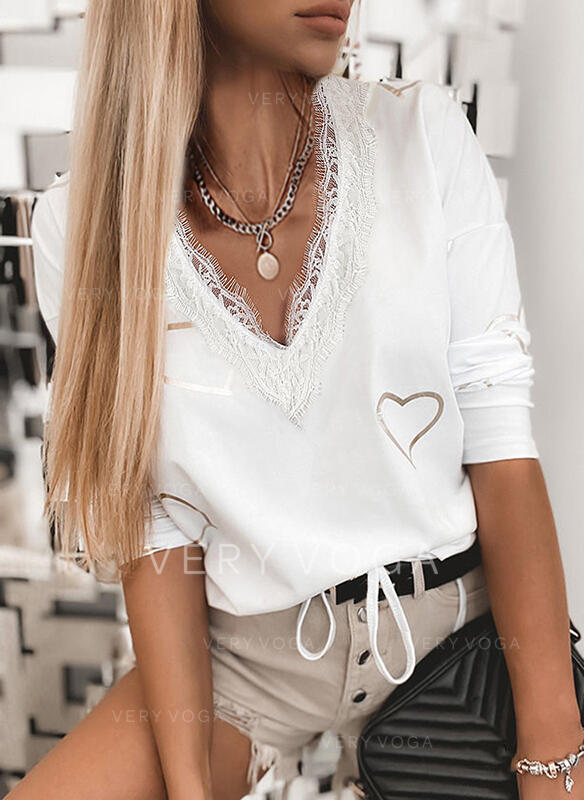 Print Lace Heart V-Neck 3/4 Sleeves Casual Blouses