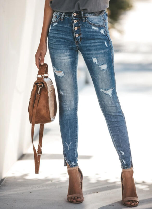 Pockets Ripped Long Elegant Sexy Denim & Jeans