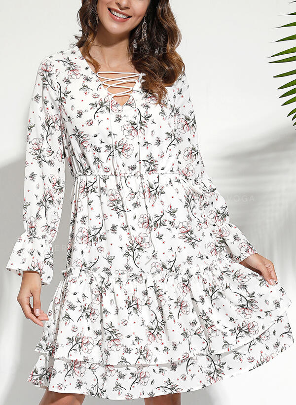 Print/Floral Long Sleeves A-line Above Knee Casual/Elegant Skater Dresses