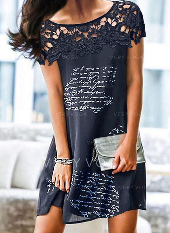 Encaje/Impresión/Agujereado/Carta Manga Corta Tendencia Sobre la Rodilla Elegante Vestidos