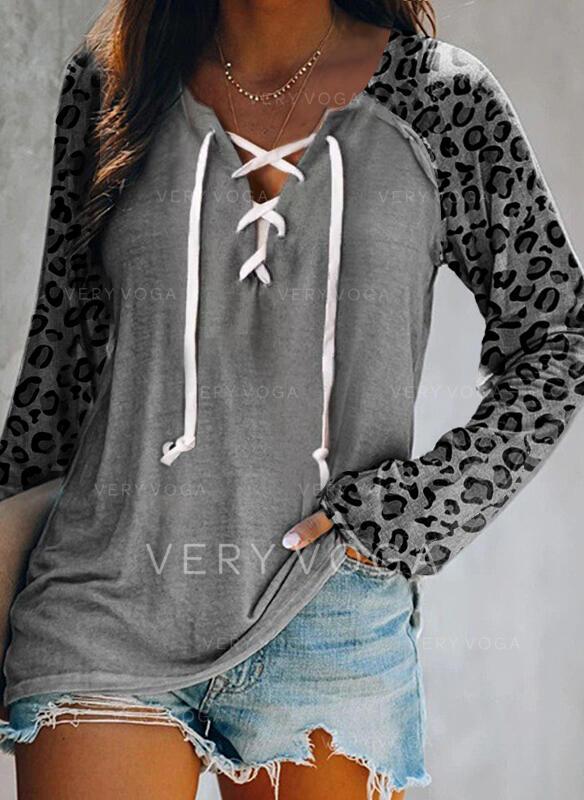 Цветной блок леопард V шеи Длинные рукова Повседневная Блузы