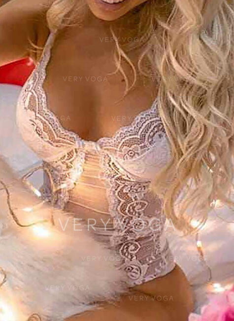 Polyester Spandex Mesh Eyelash Lace Alluring V Neck Teddy