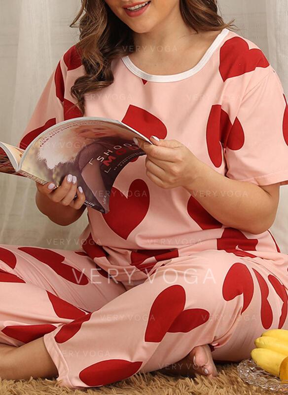 Gola Redonda Manga Curta Floral Vintage Tamanho positivo Conjuntos de pijamas