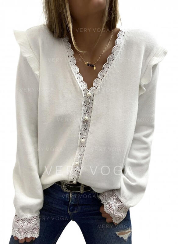 Solid Lace V-Neck Long Sleeves Button Up Elegant Blouses