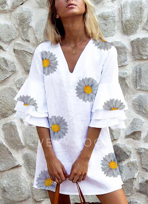 Print/Floral 3/4 Sleeves/Flare Sleeves Shift Above Knee Casual Dresses (199302478)