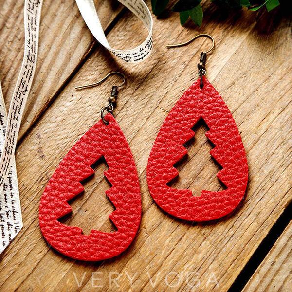Ελκυστικός Πτώση σχήματος Χριστούγεννα Κράμα PU Για Γυναίκες Σκουλαρίκια 2 PCS