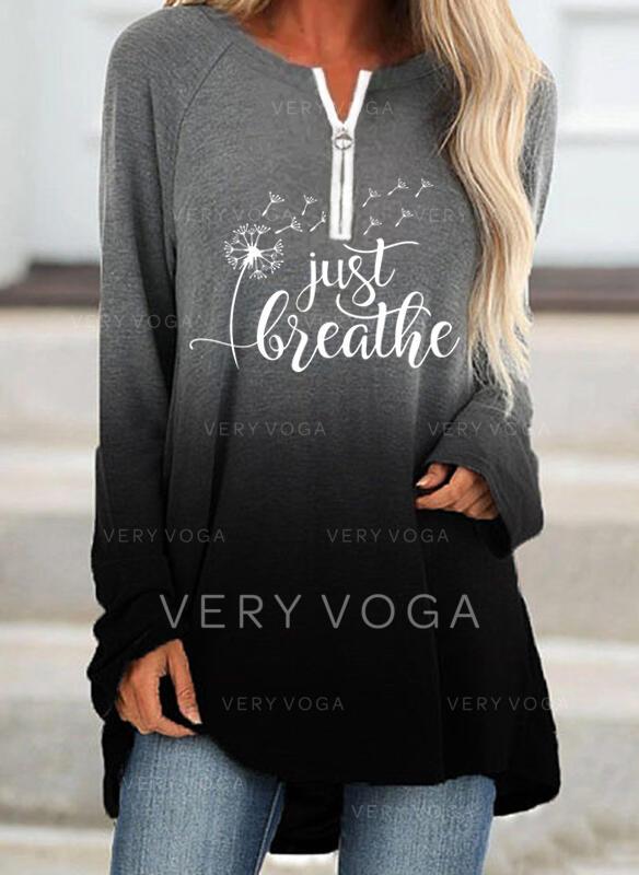 Print Figure Dandelion Gradient V-Neck Long Sleeves Sweatshirt
