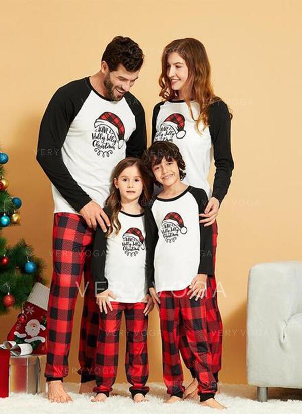 Color Block Plaid Letter Family Matching Christmas Pajamas