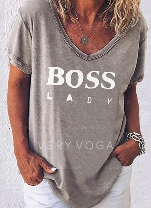 Print Figure V-Neck Short Sleeves Casual T-shirts