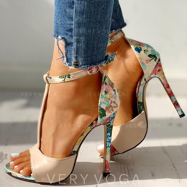 Donna Similpelle Tacco a spillo Sandalo Stiletto Punta aperta con Fibbia scarpe
