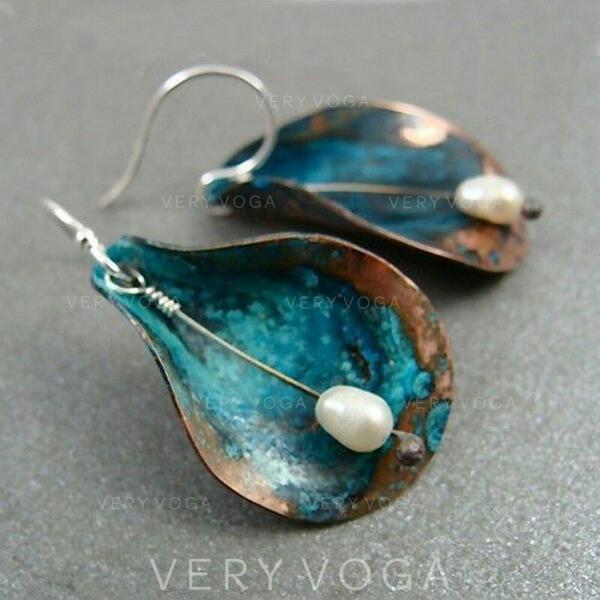 Exotisch Boho Legierung mit Nachahmungen von Perlen Ohrringe 2 STÜCK