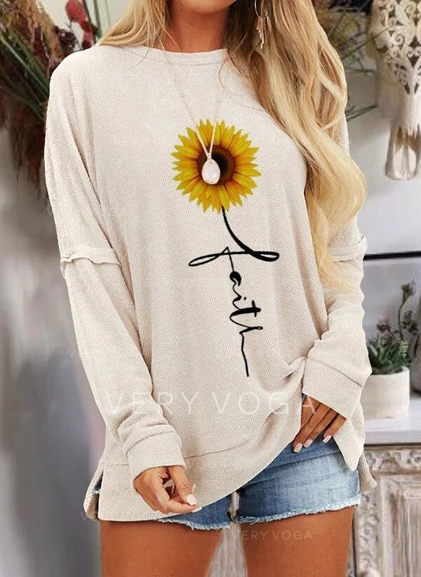 Sunflower Print Round Neck Long Sleeves Casual T-shirts