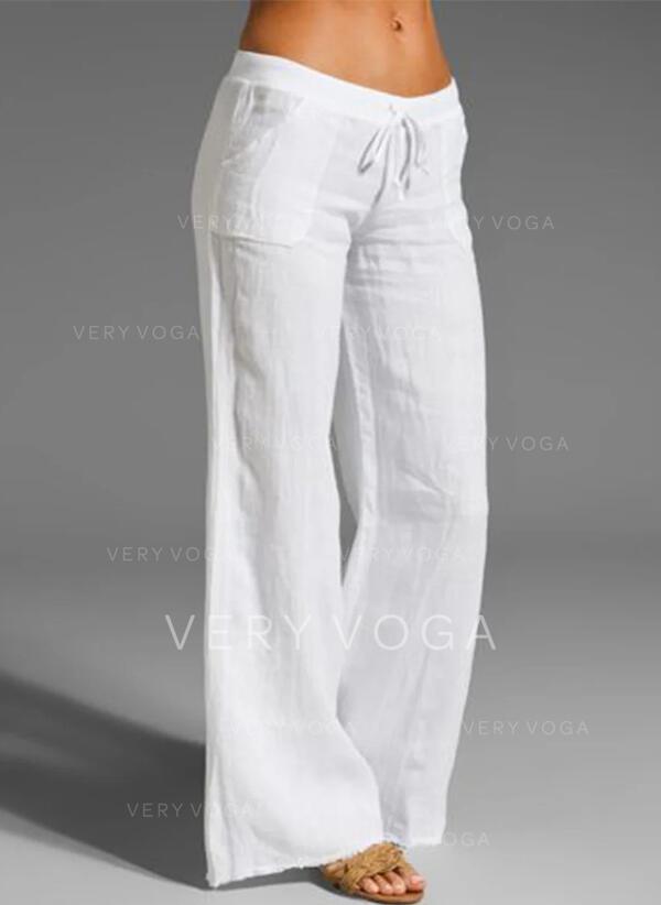 Sólido Largo Casual Largo Sólido Pantalones